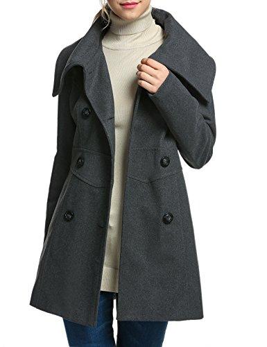 ACEVOG Women's Double-Breasted Fold-Collar Wool-Blend Coat Wool Jacket (S, Dark Gray) -