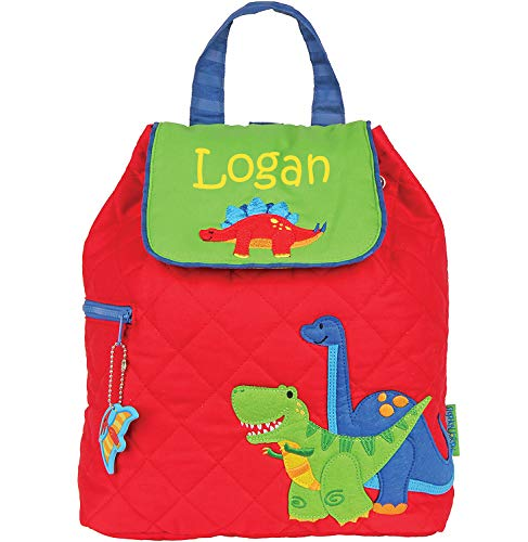 - Monogrammed Me Personalized Quilted Backpack, Red Dinosaur, with Custom Name