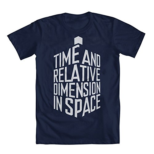 GEEK TEEZ Doctor Who Time and Relative Dimension in Space Men's T-Shirt Blue Medium (Time And Relative Dimension In Space T Shirt)