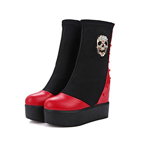 Carolbar Womens Punk Rhinestones Skull Platform Klinknagel Sleehak Korte Laarzen Rood