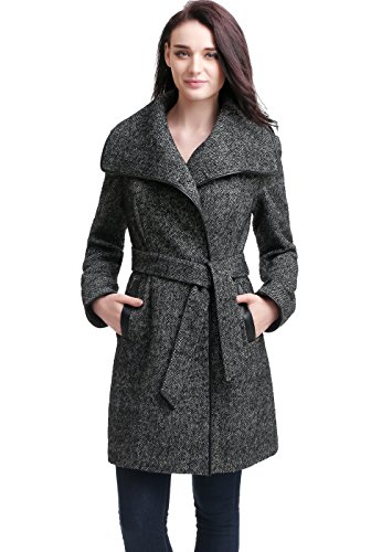 BGSD Women's Etta Wool Blend Wrap Coat - Black L (Coat Wool Slit Side)