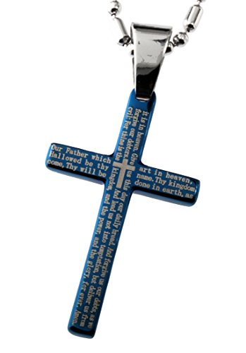 R.H. Jewelry Stainless Steel Pendant, Blue Plate the Lord's Prayer Small Cross 32mm Length