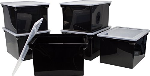 Tote Storage Box with Snap-On Lid, Letter/Legal Size, Black/Silver (61528U01C) ()