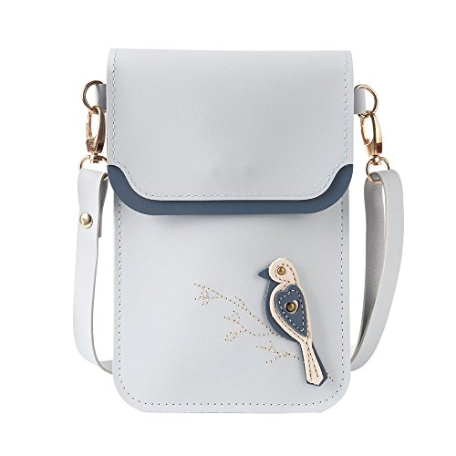 Price comparison product image Multifunctional Cellphone Purse PU Leather Mini Crossbody Bags [Horizontal] Cellphone Pouch,Little bird Blue