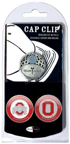 Team Golf NCAA Ohio State Buckeyes Golf Cap Clip with 2 Removable Double-Sided Enamel Magnetic Ball Markers, Attaches Easily to Hats (Renewed)