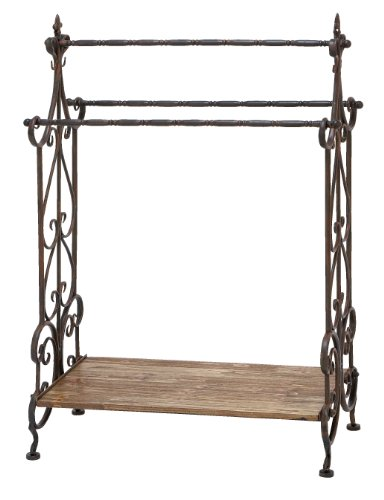 Deco 79 Traditional Wooden and Metal Towel Rack, Black Finish ()