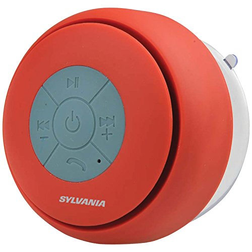 Sylvania SP230-red Bluetooth Suction Cup Shower Speaker (Red)