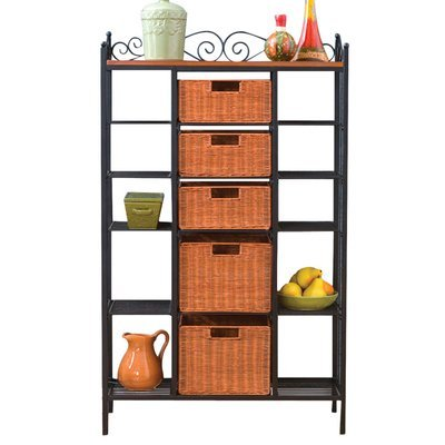 Modern Versatile Bakers Rack, 10 Open Wire Shelves, 5 Rattan Baskets, Ample Storage Space, Black Finish, Durable Metal Construction, Elegant Kitchen Storage Furniture