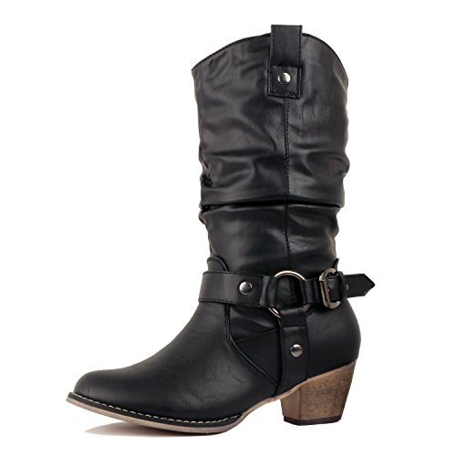 Womens Black Harness Boots - 9