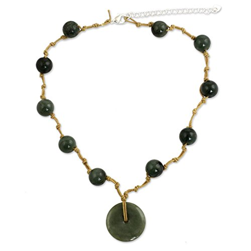 - NOVICA Jade .925 Sterling Silver Pendant Necklace, 17