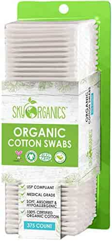 Organic Cotton Swabs by Sky Organics (375 ct.) Natural Cotton Buds, Cruelty-Free Cotton Swabs, Biodegradable, All Natural Cotton Swabs, Chlorine-Free Hypoallergenic Cotton Swabs (1 Pack)