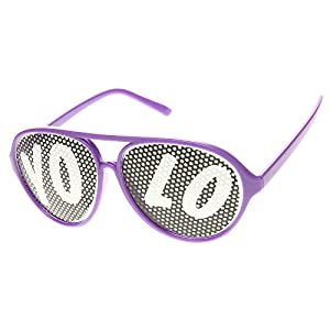 YOLO Color Plastic Teardrop Aviator Mesh Lens Poker Face YOLO Sunglasses (Purple)