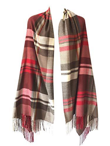 Women Oversized Scottish Clan Tartan Plaid Cashmere Feel Shawl Wrap Winter Scarf (Brown/Red Mix Plaid)