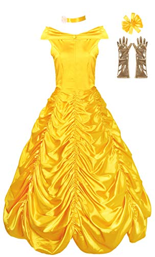 JerrisApparel Women's Princess Belle Costume Halloween Party Dress (2, Yellow) -
