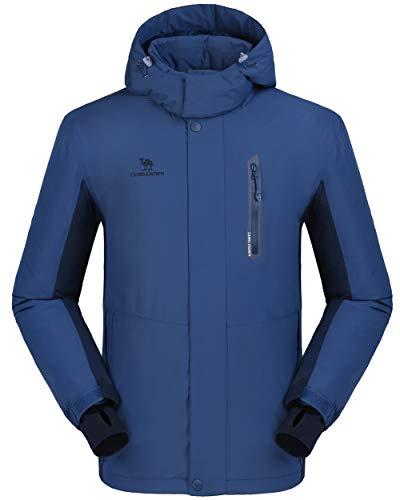 (CAMEL CROWN Ski Jacket Men Waterproof Warm Cotton Winter Snow Coat Mountain Snowboard Windbreaker Hooded Raincoat Blue M)