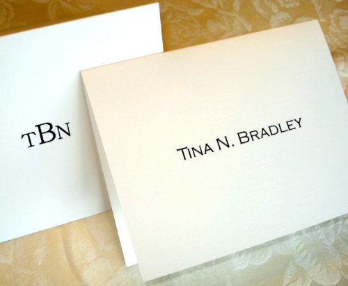 Added Notes - Personalized Note Cards with Added Full Name or Initials. Set of 50 Plus Matching Envelopes. Makes a Great Personalized Gift!