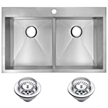 Water Creation SSS-TD-3322A 33-Inch X 22-Inch Zero Radius 50/50 Double Bowl Stainless Steel Hand Made Drop In Kitchen Sink with Drains and Strainers Premium Scratch Resistant Satin Stainless Steel
