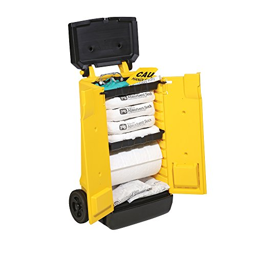 New Pig Oil-Only Spill Kit in High-Visibility Cart, 15-Gal Absorbency, Absorbs Oils & Fuels, Repels Water, Easy Access to Oil Cleanup Supplies, KIT444 (Response Spill Oil)