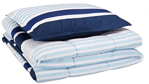 (AmazonBasics Easy-Wash Microfiber Kid's Comforter and Pillow Sham Set - Twin, Navy Stripes)