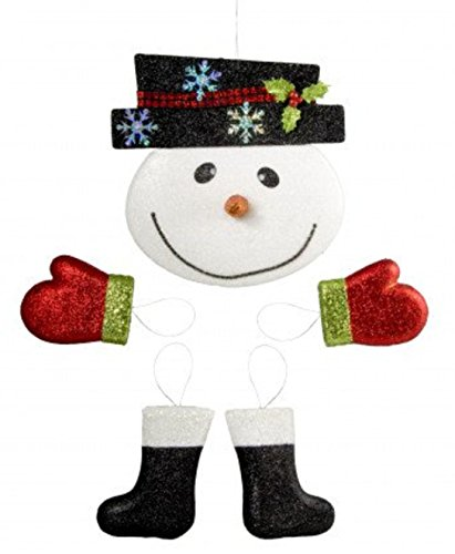 Snowman Decor Kit for Wreath and Craft Making (5 Piece) Face, Mittens and Boots, Glitter Christmas Snowman