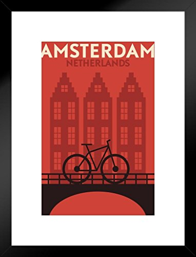 Poster Foundry Amsterdam Netherlands Bicycle Retro Travel Art Matted Framed Wall Art Print 20x26 inch