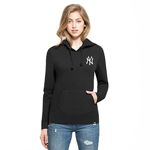 MLB New York Yankees Women's '47 Rundown Headline Pullover Hoodie, Jet Black, Medium