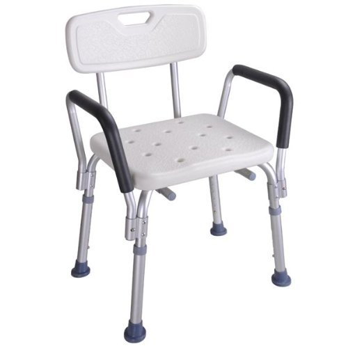 220 lbs Capacity Medical Shower Stool Bath Chair w/ Back and Arms ()
