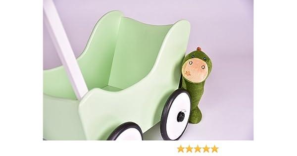 Colour verde niños Schwaben madera coche de muñecas + freno + textil Walker puppenwagen andador de madera del bebé