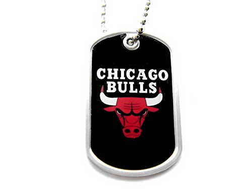 Domed Dog Tag Necklace - Chicago Bulls Sports Team logo Dog Tag Domed Necklace Charm Chain