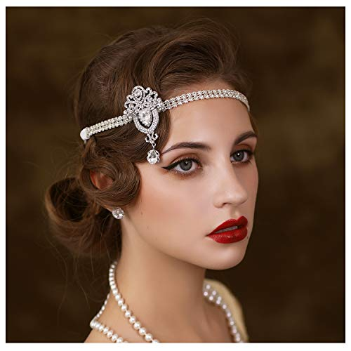 SWEETV 1920's Flapper Headband, Great Gatsby Headpiece 20s Art Deco Hair Accessories Headband Sliver
