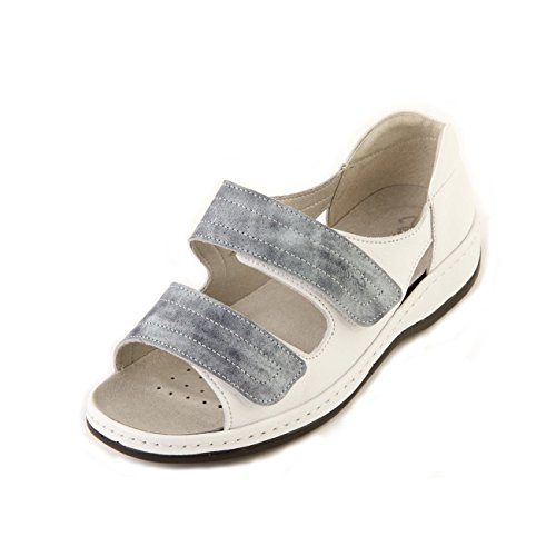 in Touch Wide Heel Blue Long Back Women's Twin Mist Sandal White Fit 'Cheryl' Extra Sandpiper Fastening Extra 6E fOvwqf