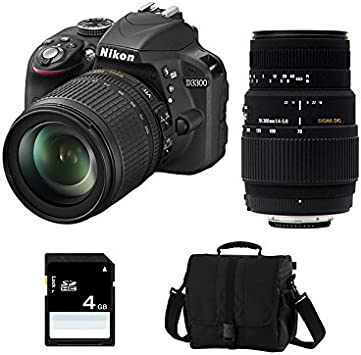 NIKON D3300 + 18-105 VR + SIGMA 70-300 DG MACRO + acabado + SD 4Go ...