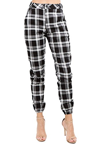 TwiinSisters Women's 100% Cotton Casual Plaid Print High Rise Color Fashion -