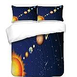 iPrint 3Pcs Duvet Cover Set,Space,Solar System with Sun Uranus Venus Jupiter Mars Pluto Saturn Neptune Image,Dark Blue Orange,Best Bedding Gifts for Family/Friends