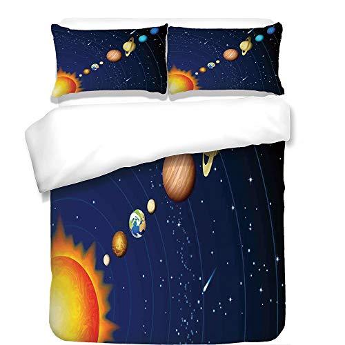 iPrint 3Pcs Duvet Cover Set,Space,Solar System with Sun Uranus Venus Jupiter Mars Pluto Saturn Neptune Image,Dark Blue Orange,Best Bedding Gifts for Family/Friends by iPrint