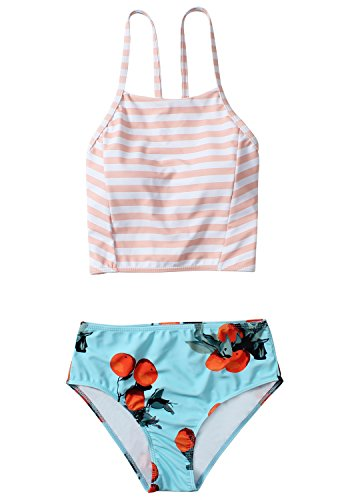Stripe Tank Swimsuit - Reteron Women's Vitage Cheeky Bottom Stripe Tank Bikini Swimsuit (Floral, M)
