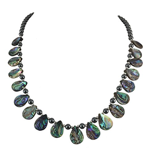 HONULELE Natural Abalone Shell and Hematite Bead Necklace 22 Inch