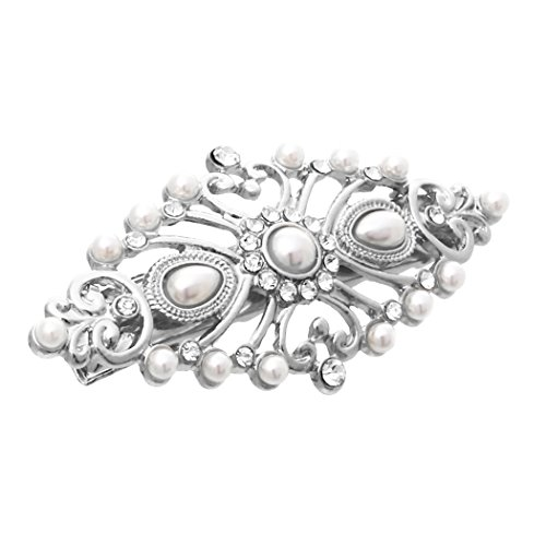 - Rosemarie Collections Women's Headpiece Faux Pearl and Glass Crystal Hair Clip (Silver)