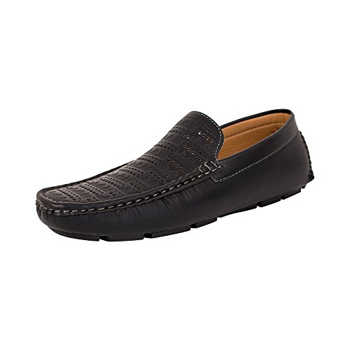 BEVERL ST Mens Shoes Dressy Mocassin Loafers( RDS44 Black, 7 US )