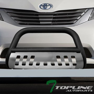Topline Autopart Matte Black Bull Bar Brush Push Front Bumper Grill Grille Guard With Brush Aluminum Skid Plate For 11-17 Toyota Sienna