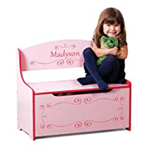 Wymo Kids Toy Box Pink, Girls. We Will Customize With Your Child's Name. Inscribed Toys Storage & Bench Seat For Kids Bedroom or Playroom