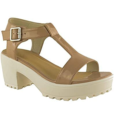 e39d018ffdf0 Womens Ladies Chunky Platform Cleated Sole MID Block Heel T BAR Sandals  Size  Amazon.co.uk  Shoes   Bags
