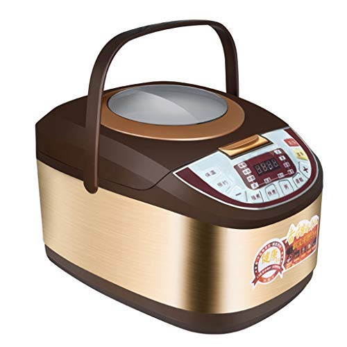Brushed Stainless Steel Inner Liner - Brushed Stainless Steel Rice Cooker With Transparent Lid, 5 Liter rice maker with 24hours timer, electric rice cooker with Aluminum alloy liner and plastic steamer
