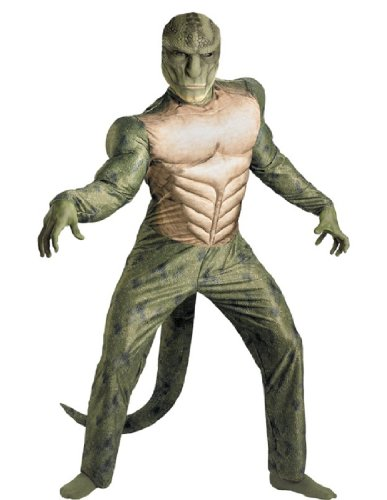 Disguise Marvel The Amazing Spider-Man 3D Movie Lizard Classic Muscle Adult Costume, Green/Tan, XX-Large/(50-52)