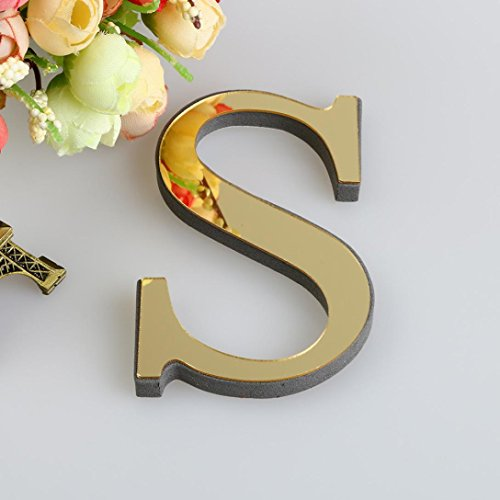 - 26 Letters DIY Decor 3D Mirror Wall Sticker, FEITONG Decals Home Decor Wall Art Mural (Gold, S)