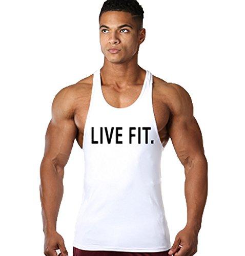 TECOFFER Men's Gym Muscle Sleeveless Tank Top Bodybuilding Sport Fitness Vest