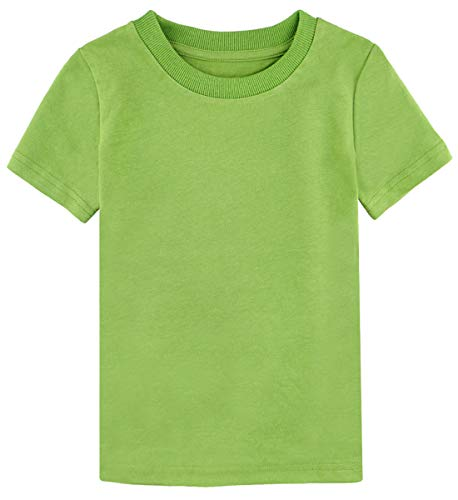 (A&J DESIGN Toddler Boys' Solid Crewneck Short Sleeve Heavyweight T-Shirt (Grass Green, 4T))