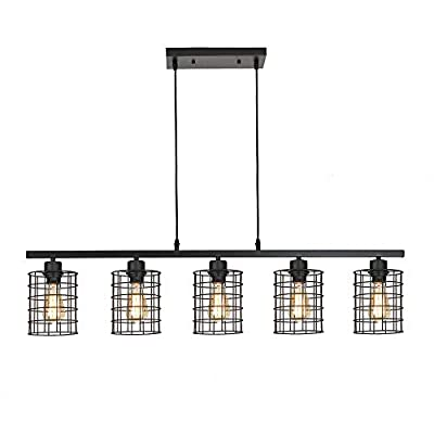 ZZ Joakoah 5-Light Kitchen Island Lighting, Metal Cage Industrial Chandelier Pendant Ceiling Light Fixture for Dining Room Living Room, 5×E26, Black Painted Finish.