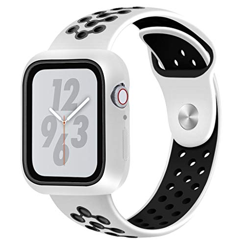 (SHL for Apple Watch Series 4 44MM Watch Band, Soft Silicone Bracelet Watch Band Wrist Sports Strap (White))