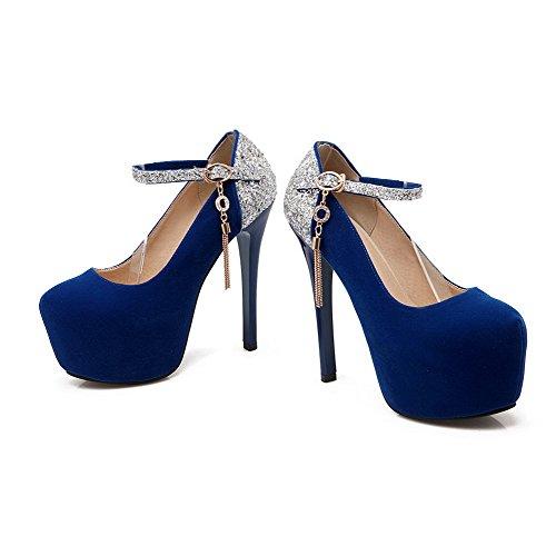 AllhqFashion Mujeres Sólido Tacón de aguja Hebilla Puntera Redonda De salón con Colgantes Azul